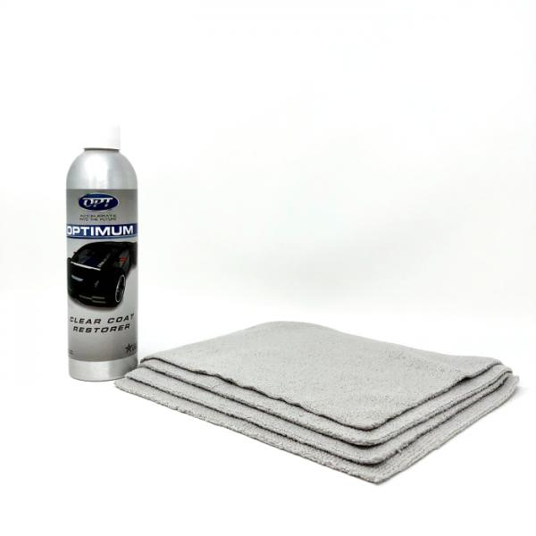 Optimum Clear Coat Restorer (CCR) 9oz. Includes 4 Small Gray Pearl Weave Towels